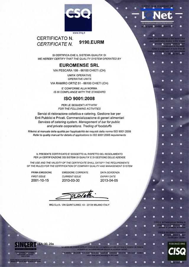 Certificato qualita iso